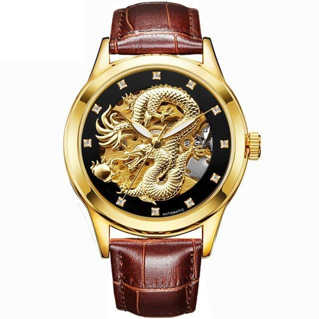 Golden dragon automatic watch