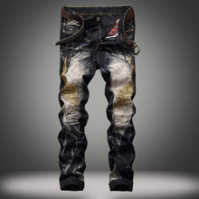 Load image into Gallery viewer, Bleach Ripped embroidery designer denim jeans