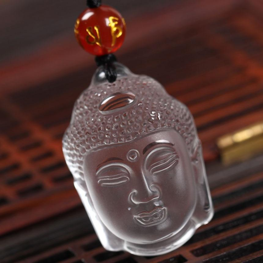 Buddha head clear frost necklace