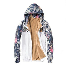 Load image into Gallery viewer, Floral windbreaker jacket thin / fleece lining / parka ver.