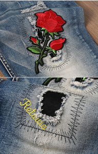 Embroidery rose denim jeans