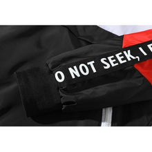 "Load image into Gallery viewer, ""I do not seek"" patchwork windbreaker jacket"