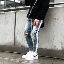 Load image into Gallery viewer, White stripe skinny jeans