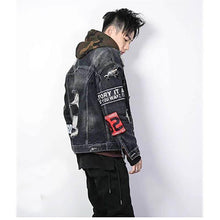 Load image into Gallery viewer, Camo hooded patched vintage denim jacket