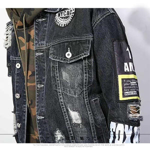 Camo hooded patched vintage denim jacket
