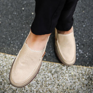 Canvas rubber bottom loafers
