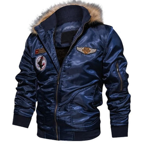 Fur collar military flight jacket
