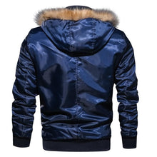 Load image into Gallery viewer, Fur collar military flight jacket