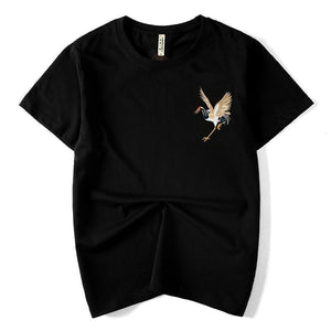 Chinese crane embroidery T-shirt