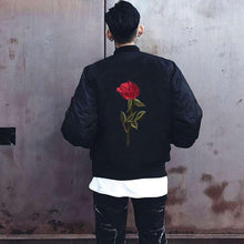 Load image into Gallery viewer, Classic single rose bomber jacket
