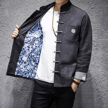 Load image into Gallery viewer, Solid denim Tang Dynasty jacket