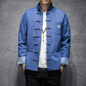 Solid denim Tang Dynasty jacket