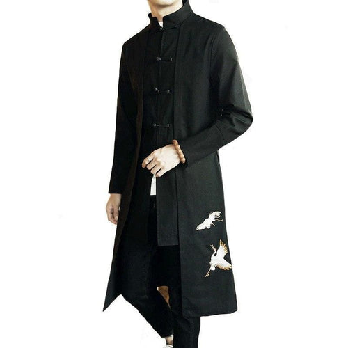 Flying crane trench coat