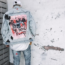 "Load image into Gallery viewer, ""Eye of the beholder"" vintage denim jacket"