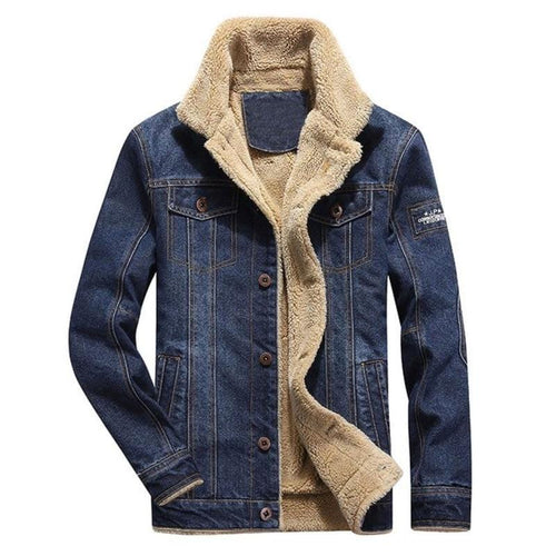 Brown fleece denim jacket