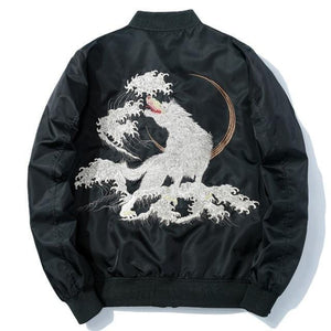 Embroidery winter wolf bomber jacket