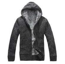 Load image into Gallery viewer, Hooded fleeced lined zip up sweater