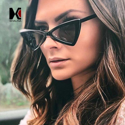 78a4d6f3ea SHAUNA New Arrival Metal Hinge Women Butterfly Cat Eye Sunglasses Fashion  Triangle Men Yellow Lens Glasses