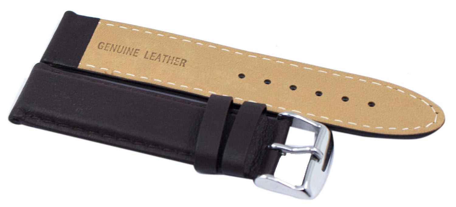Dark Brown Ratio Brand Leather Strap 22mm