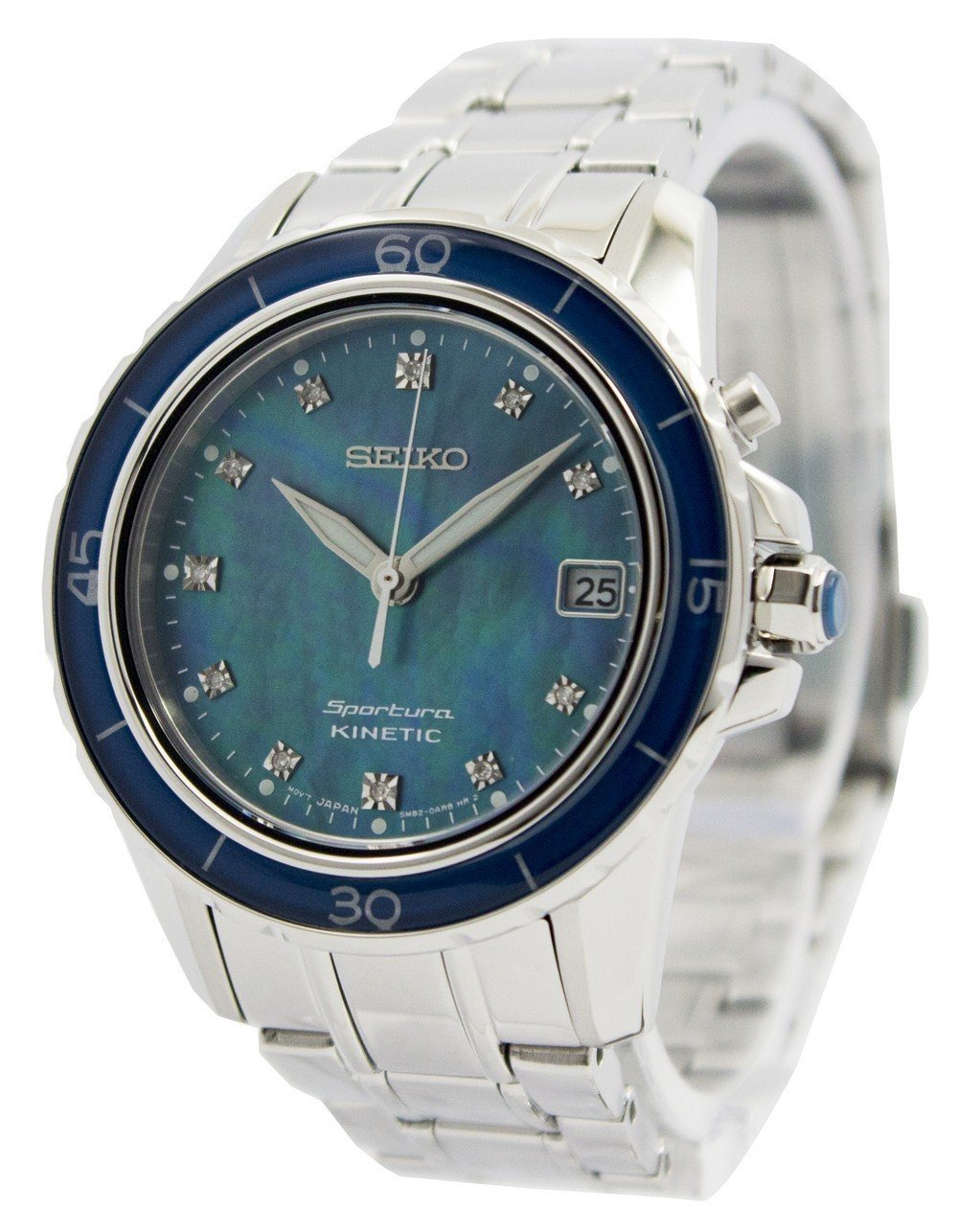 Seiko Sportura Kinetic Diamonds Dial Indices SKA873 SKA873P1 SKA873P Women's Watch