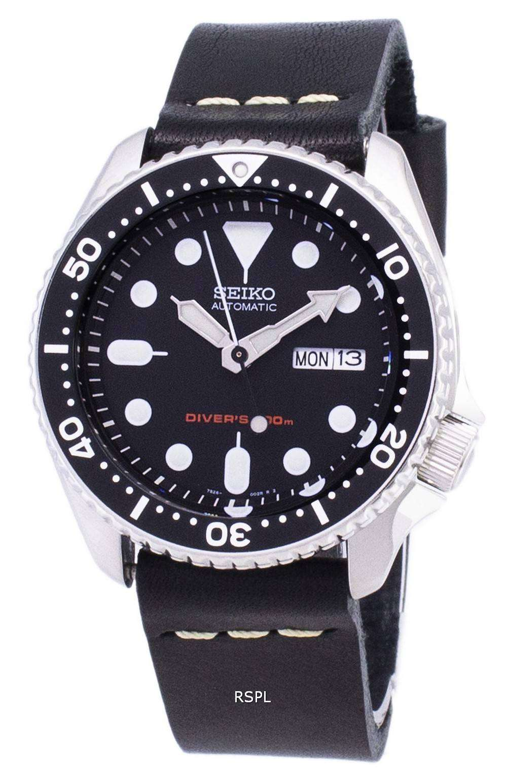 Seiko Automatic SKX007K1-LS14 Diver's 200M Black Leather Strap Men's Watch