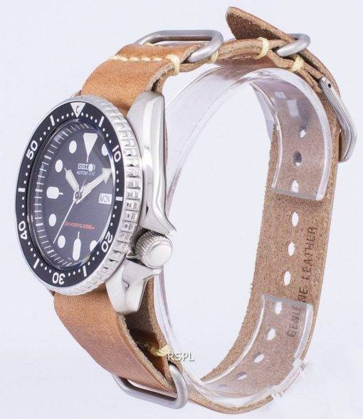 Seiko Automatic SKX007K1-LS17 Diver's 200M Brown Leather Strap Men's Watch