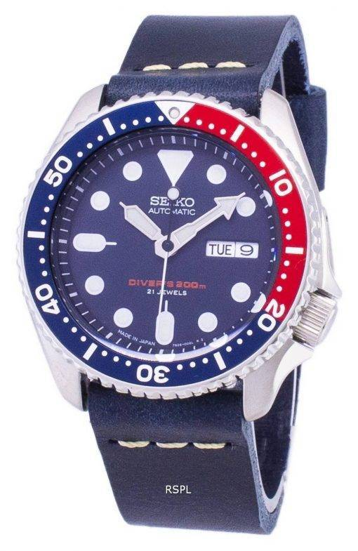 Seiko Automatic SKX009J1-LS15 Diver's 200M Dark Blue Leather Strap Men's Watch