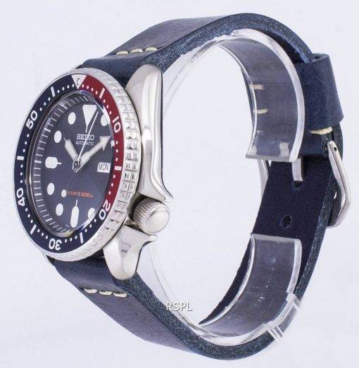 Seiko Automatic SKX009K1-LS15 Diver's 200M Dark Blue Leather Strap Men's Watch