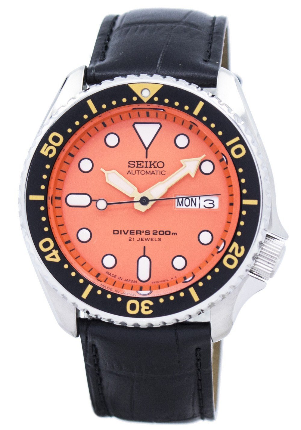 Seiko Automatic Diver's Ratio Black Leather SKX011J1-LS6 200M Men's Watch