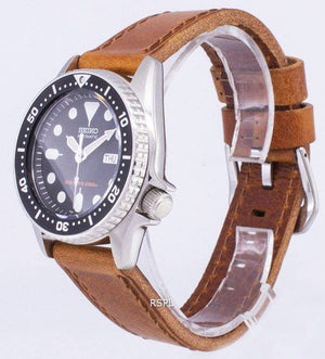 Seiko Automatic SKX013K1-MS4 Diver's 200M Brown Leather Strap Men's Watch