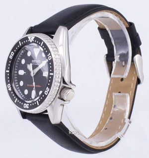 Seiko Automatic SKX013K1-MS5 Diver's 200M Black Leather Strap Men's Watch