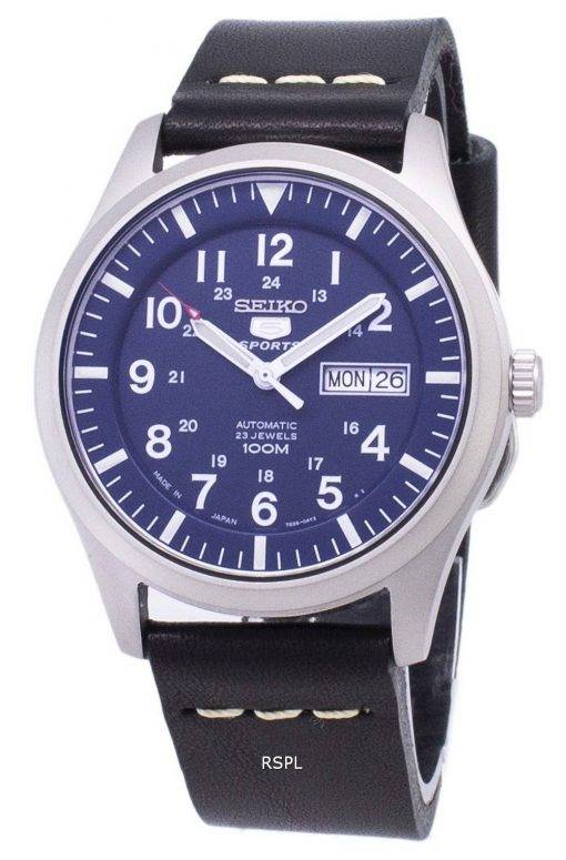 Seiko 5 Sports SNZG11J1-LS14 Automatic Black Leather Strap Men's Watch