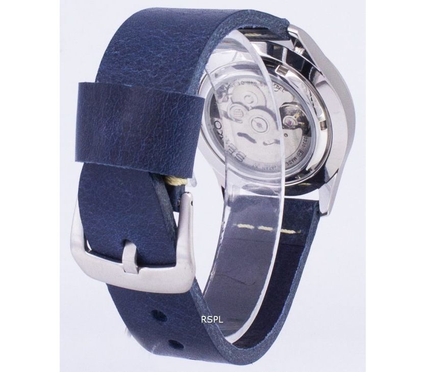 Seiko 5 Sports SNZG11J1-LS15 Automatic Dark Blue Leather Strap Men's Watch