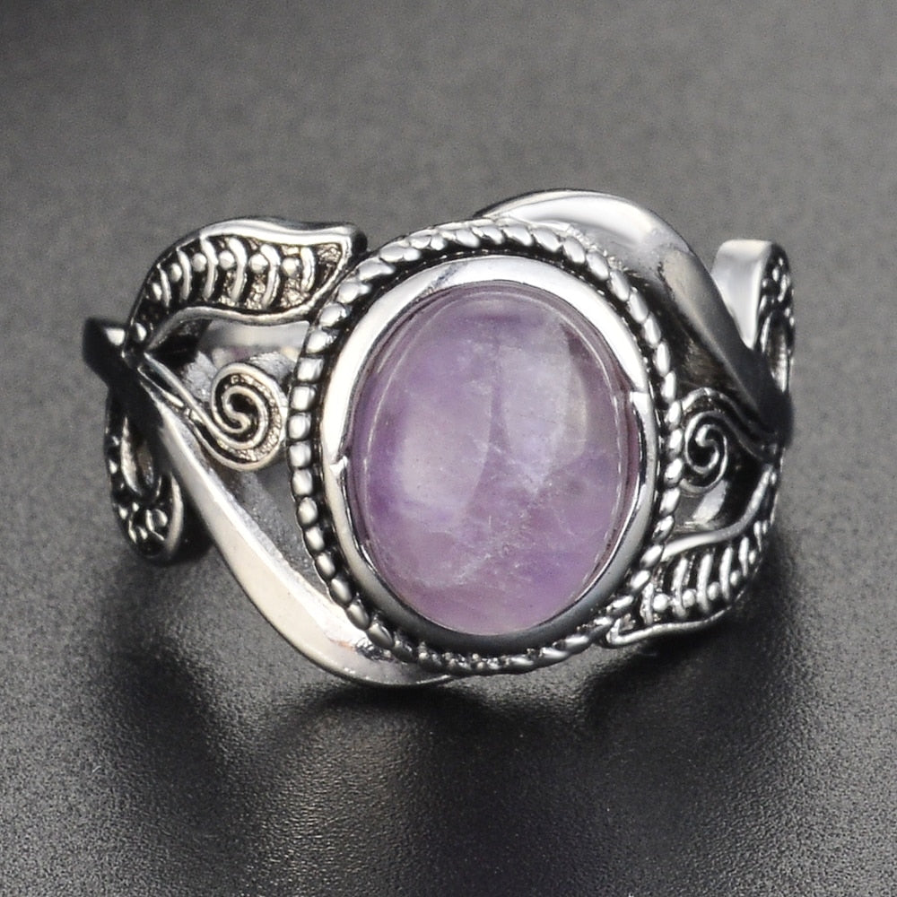 Vintage Amethyst Rings For Women 925 Silver Ring