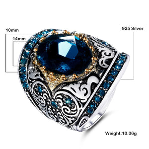 Peacock Blue Gemstone 925 Silver Ring For Women