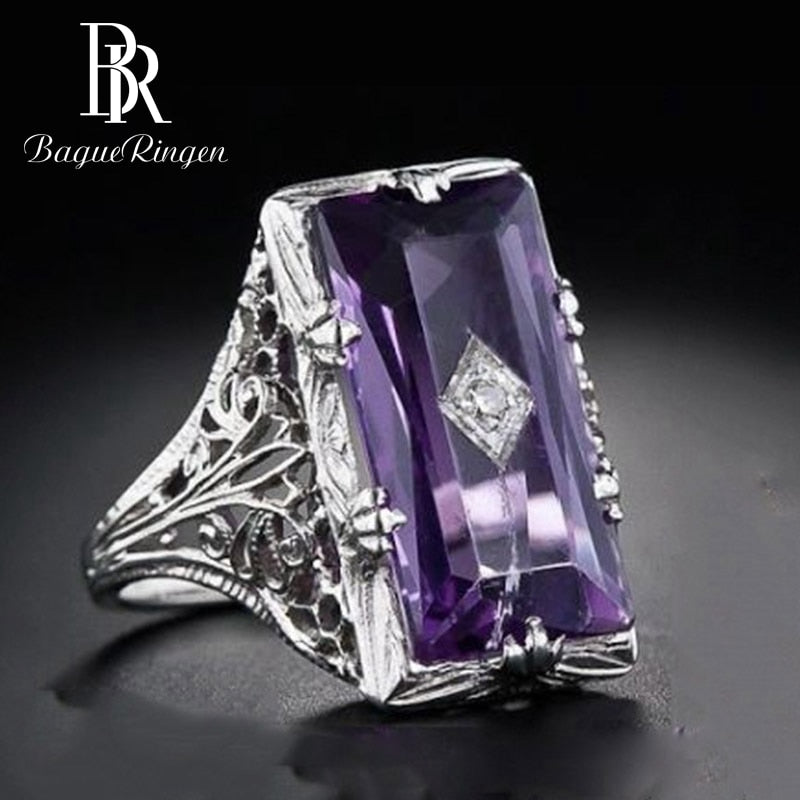 Rectangle Amethyst Gemstone Rings For Women Silver 925 Jewelry