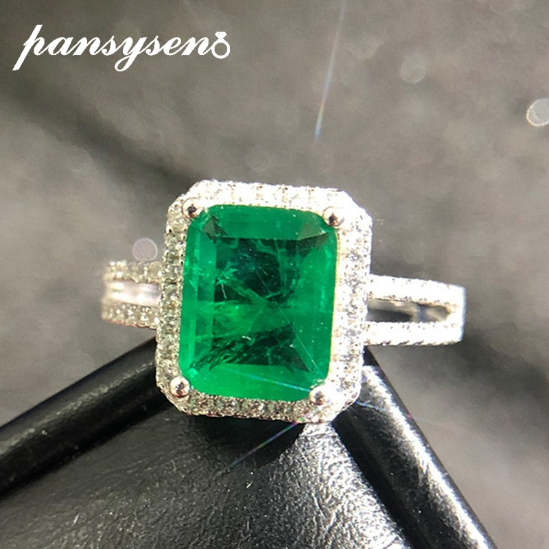 925 Sterling Silver Emerald Rings for Women