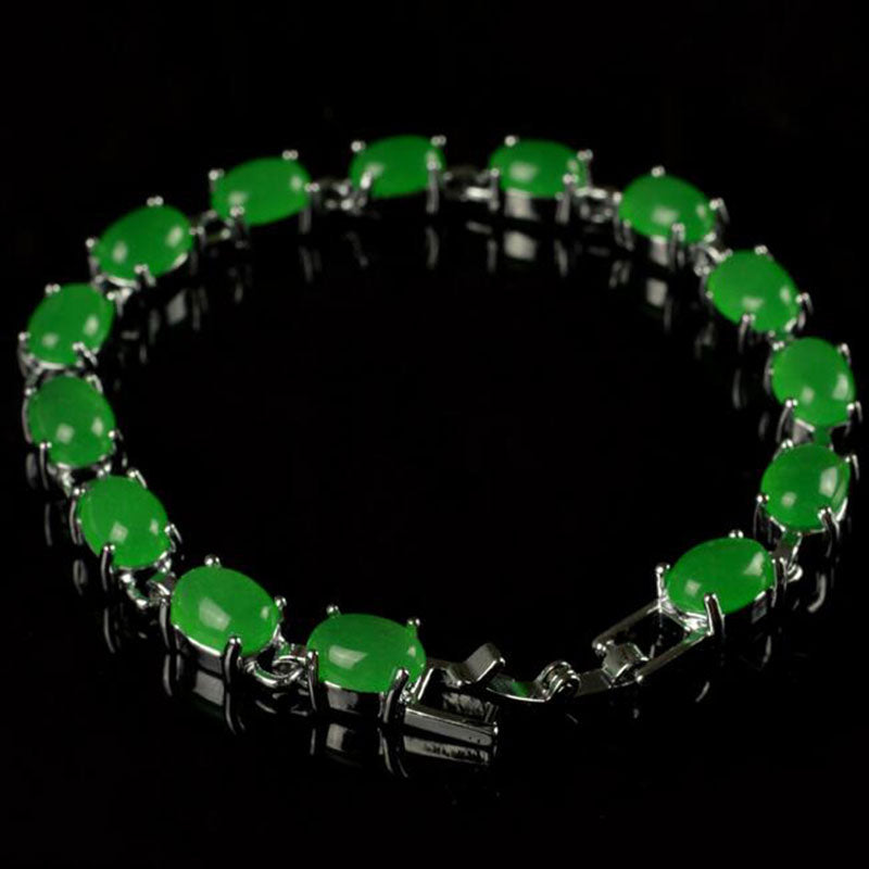 Natural green stone inlay bracelet for women
