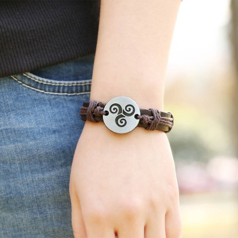 Adjustable Genuine Leather Strap Charm Bracelet for Women and Men