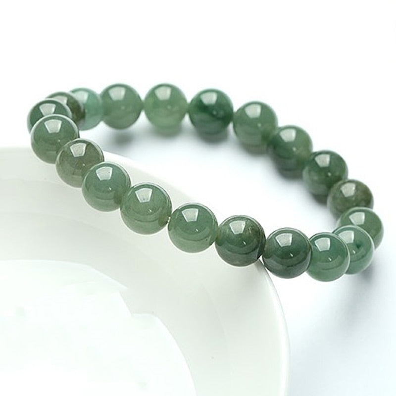 Natural green jade stone 10MM round beads bracelet  for women
