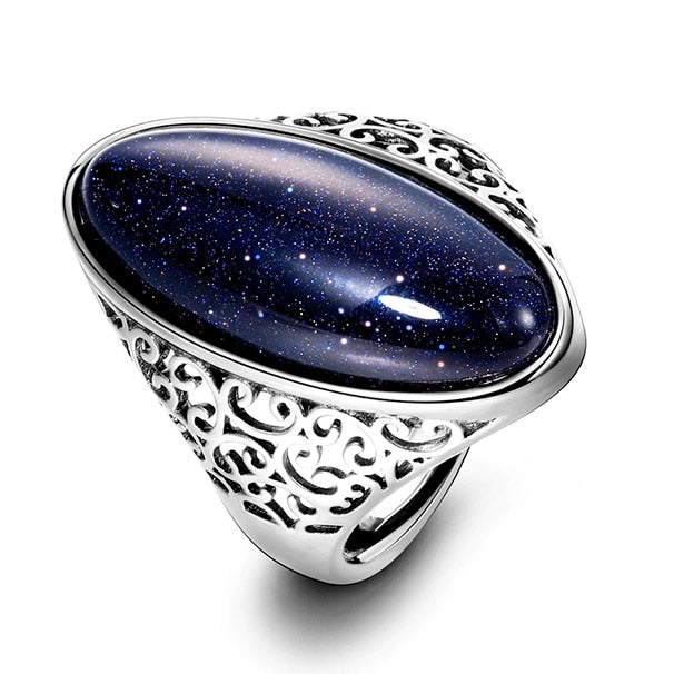 925 Sterling Silver Jewelry Vintage Blue Women's Ring