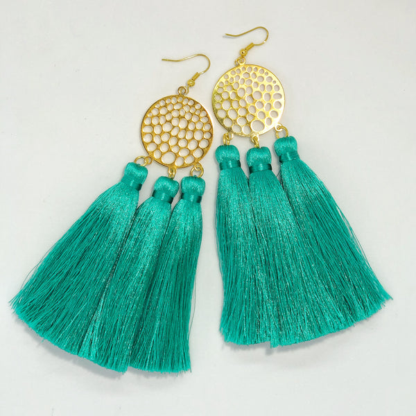 Tri-Silk Tassel in Teal