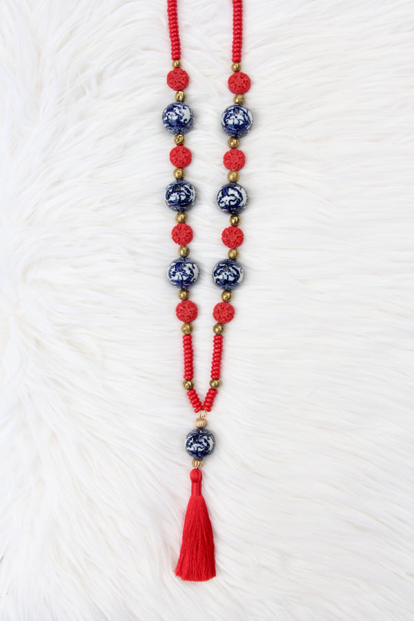 Chinoiserie Bead and Red Silk Tassel