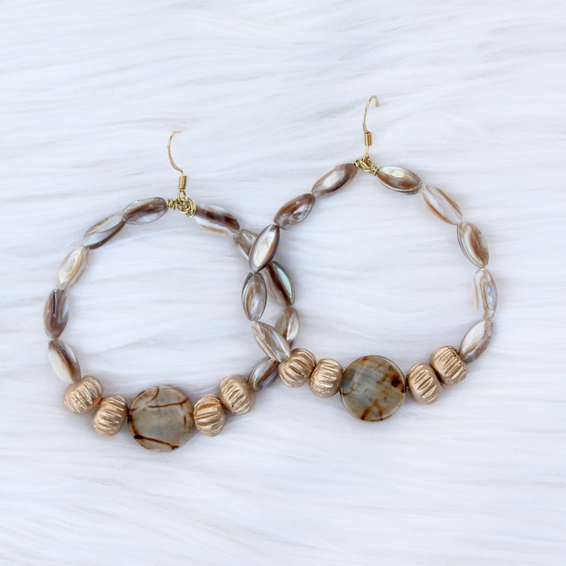 Shell Hoop with Golden Beads