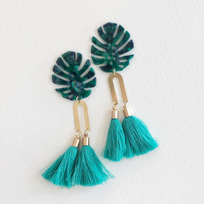 Palm and Turquoise Tassel