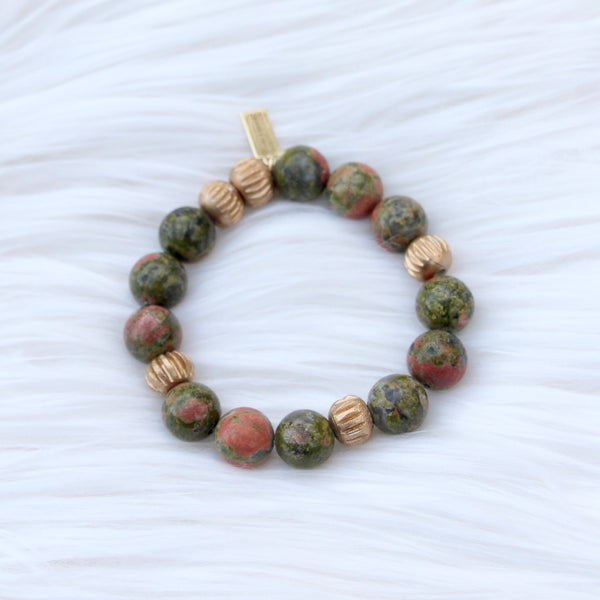 Jasper Large with Gold Accent Beads