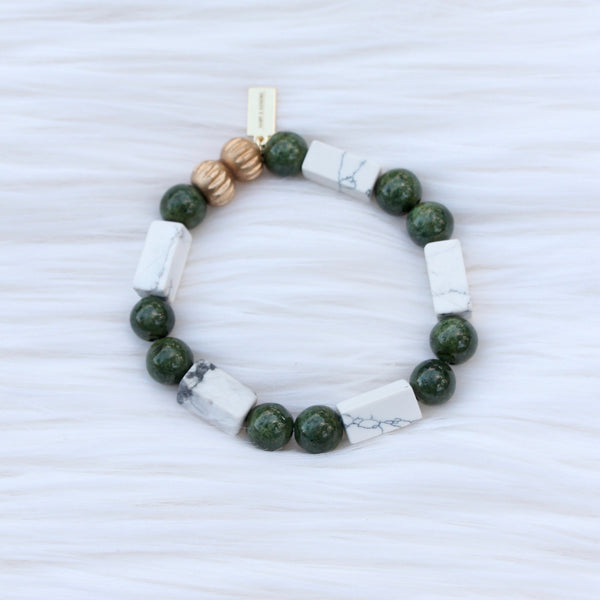Green Jasper and Marble Howlite Modern