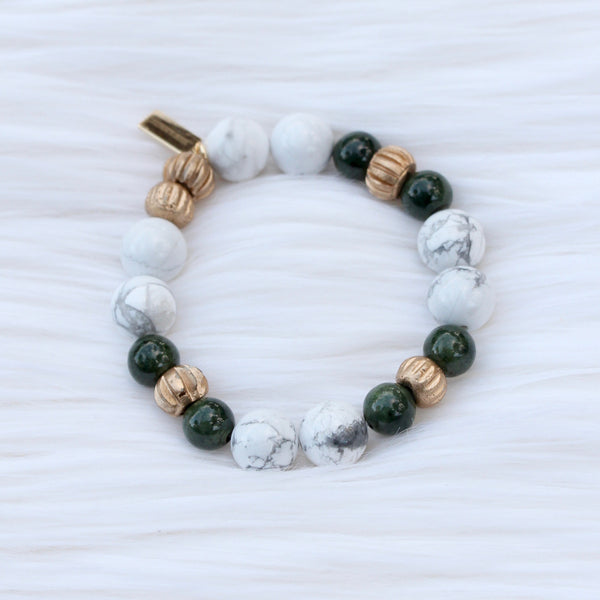 Green Jasper with Round Marble Howlite