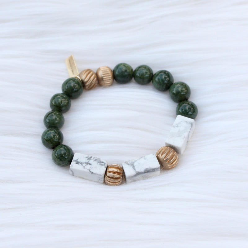 Mini Green Jasper and Modern Howlite Marble