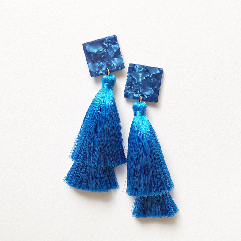 Cobalt Resin + Silk Double Tassel